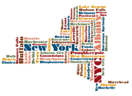 new york map: word cloud map of New York State state, usa