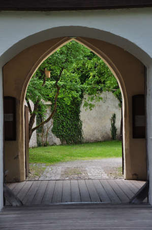 royal park: entrance to a medieval castle