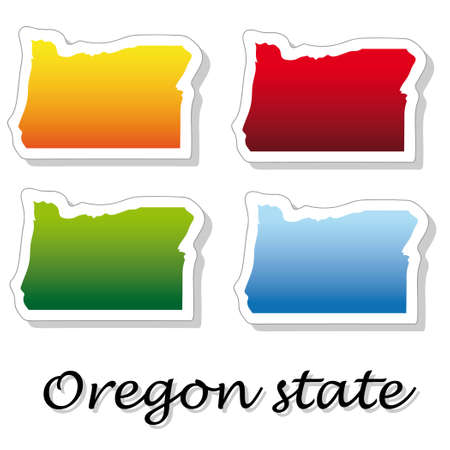 portland oregon: stickers in form of Oregon state