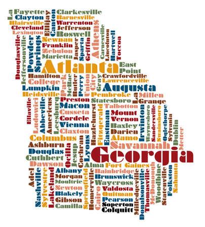 word cloud map of Georgia state, usa