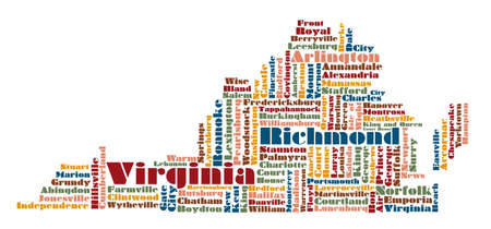 virginia: word cloud map of Virginia state, usa