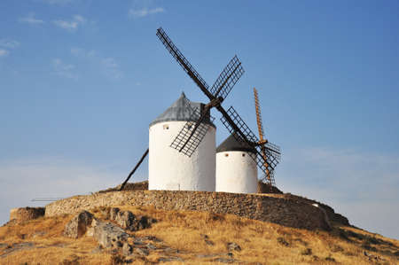 typical Spanish windmills in Consuegra, Spain  photo