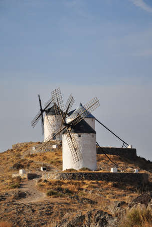 spanish landscapes: typical Spanish windmills in Consuegra, Spain
