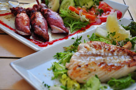 typical spanish food - grilled squid and fish photo