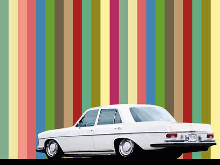 80's: abstract background with a car Illustration