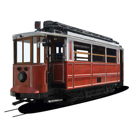 railway track: abstracte illustratie van een tram