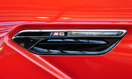 MUNICH, DECEMBER 11  sign of BMW M6 Coupe at BMW Car Show on December 11, 2012 in Munich, Germany