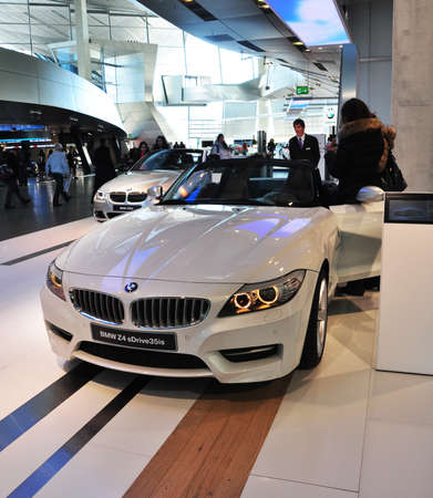 coche: MUNICH, DECEMBER 11  BMW z4 at BMW Car Show on December 11, 2012 in Munich, Germany  Editorial