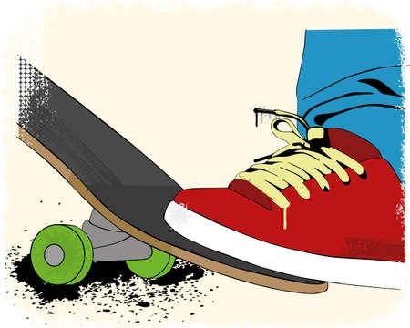 Grunge skate boarding background Ilustracja