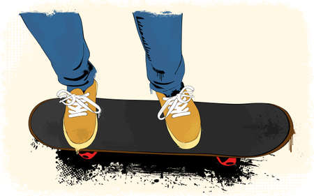 high jump: Grunge skate boarding background Illustration