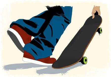 Grunge skate boarding background Stock Vector - 16970167