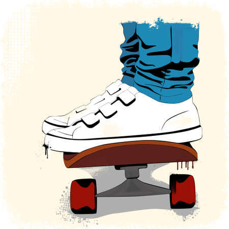 Grunge skate boarding background Vector