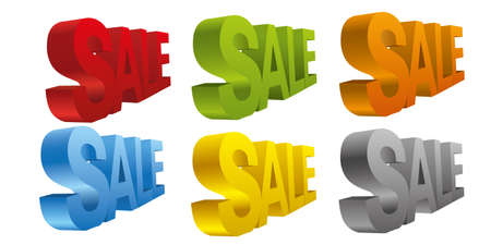 3d word sale in different colors Vector