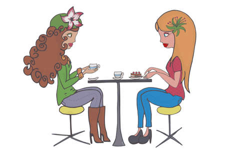 Illustration of two girls having coffee
