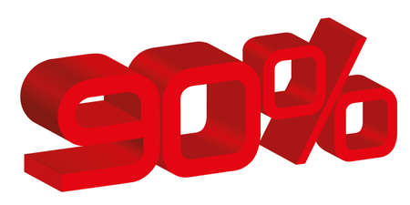 3d icon of a 90 percent sign Vector