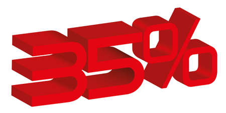 3d icon of a 35 percent sign Vector