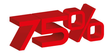 3d icon of a 75 percent sign Vector