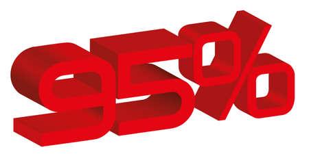 95: 3d icona di un segno 95 per cento