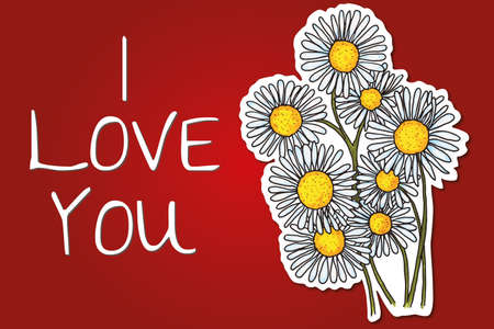 valentine s day background with daisy flowers Vector