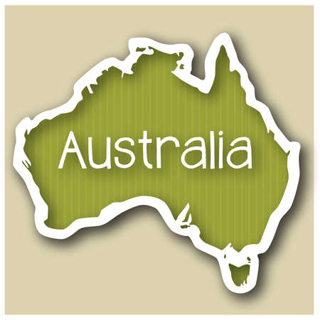 abstact map of Australia in form of a sticker Vector
