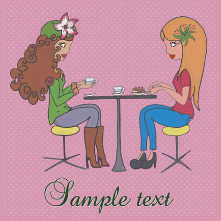 beautiful background with two girls having coffee Vector