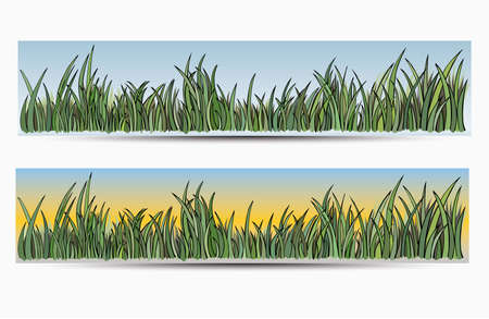 Banners with grass and sun, backgrounds   Vector