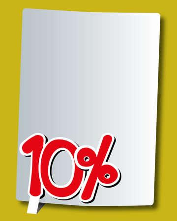 cut off: ten percent icon on white paper