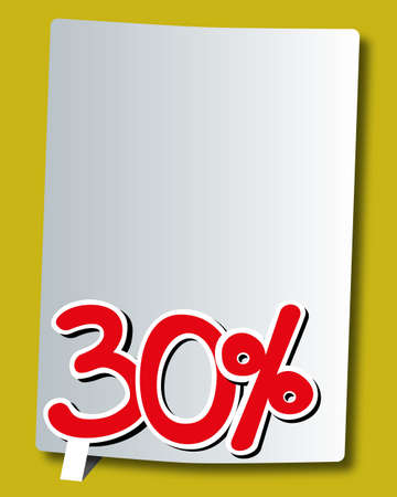 thirty: thirty percent icon on white paper