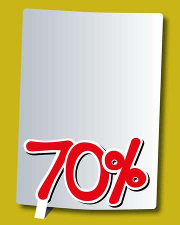 70: seventy percent icon on white paper