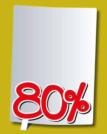 eighty: eighty percent icon on white paper Illustration
