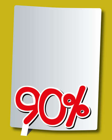 ninety: ninety percent icon on white paper