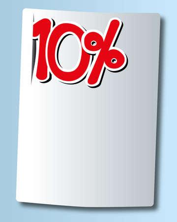 cut off: ten percent icon on white paper  Illustration
