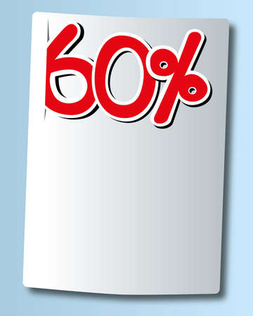 sixty: sixty percent icon on white paper