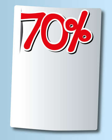 seventy: seventy percent icon on white paper