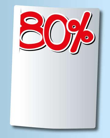 ochenta: ochenta por ciento icono en papel blanco Vectores