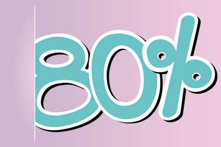 ochenta: ochenta por ciento icono Vectores