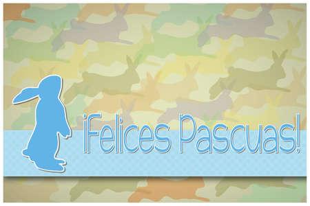 silhouette lapin: Lapin de Pâques carte de voeux une Joyeuses Pâques dans l'Espagnol