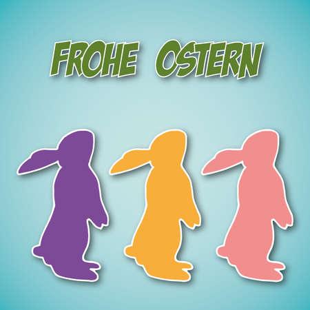 silhouette lapin: Joyeuses Pâques carte avec le lapin de Pâques avec les souhaits en allemand