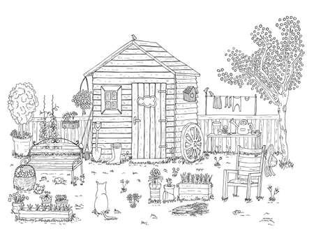 wheelbarrow: sketch of nice garden - coloring book