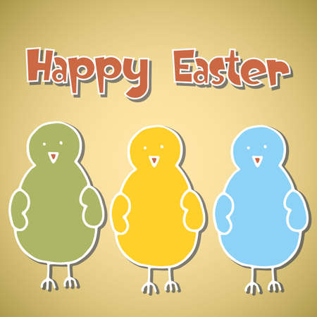 abstract vintage background with Easter Chick Stock Vector - 17884674