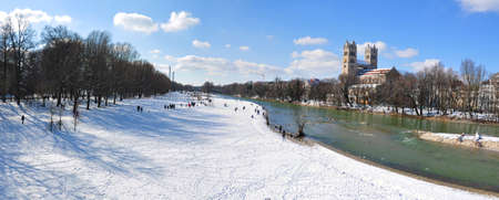 Sankt Maximilian church on Isar river bank in Munich in winter Editöryel