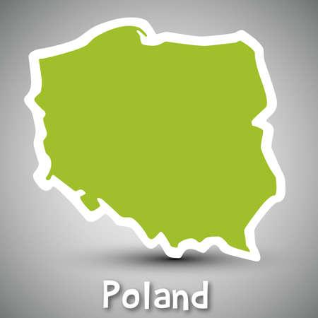 폴란드의 추상 아이콘지도 일러스트