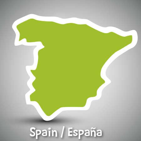 스페인의 추상 아이콘지도 일러스트
