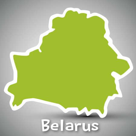 belarus: Belarus map sticker Illustration