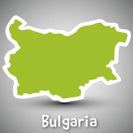 bulgaria: Bulgaria map sticker Illustration