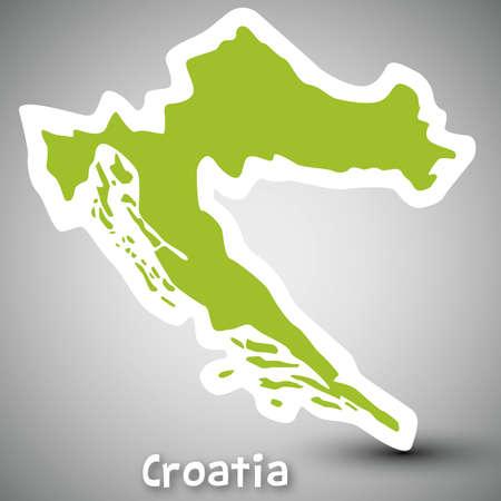 croatia flag: Croatia map sticker Illustration