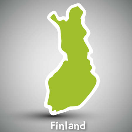 mapa: Finland map sticker Illustration