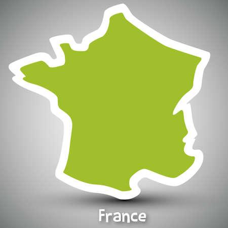 bandera francia: Francia mapa sticker
