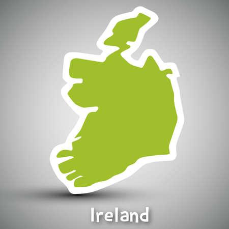 Ireland map sticker Stock Vector - 17884861