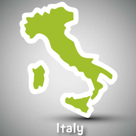florence   italy: Italy map sticker